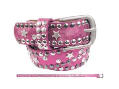 Kinder Gürtel Nieten Strass + Stern pink 70 cm
